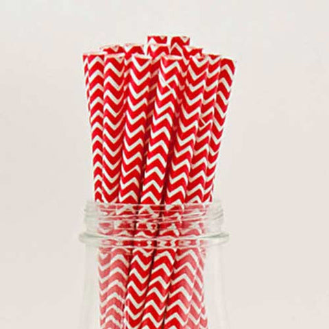 Pack of 25 Chevron Red/White Party Straws