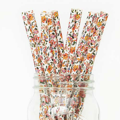 Pack of 25 Shabby Chic Vintage Floral Party Straws
