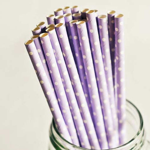 Pack of 25 Polka Dots Lavender Purple/White Party Straws