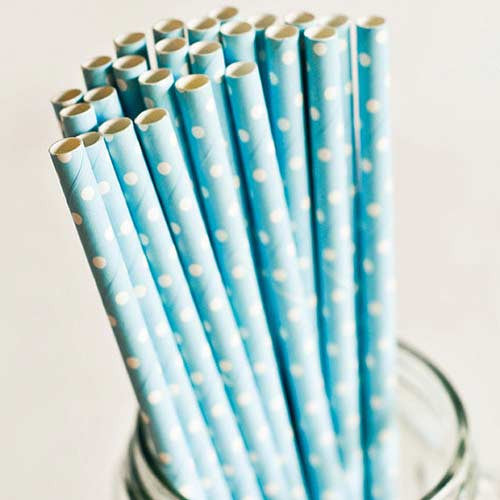 Pack of 25 Polka Dots Light Blue/White Party Straws