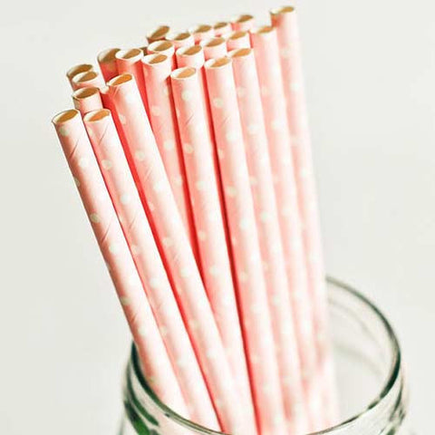 Pack of 25 Polka Dots Blush Pink/White Party Straws