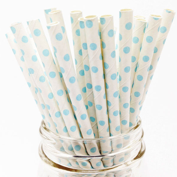Pack of 25 Polka Dots White/Baby Blue Party Straws