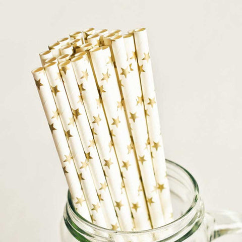 Pack of 25 Gold Stars Party Straws