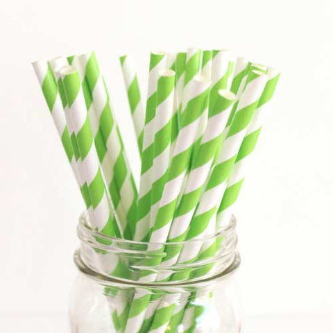 Pack of 25 Candy Stripes Apple Green/White Party Straws