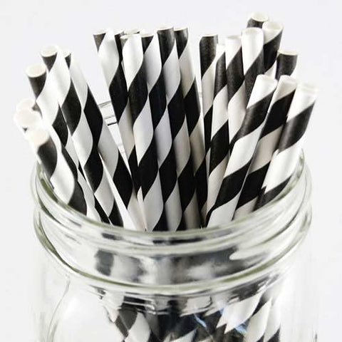 Pack of 25 Candy Stripes Black/White Party Straws