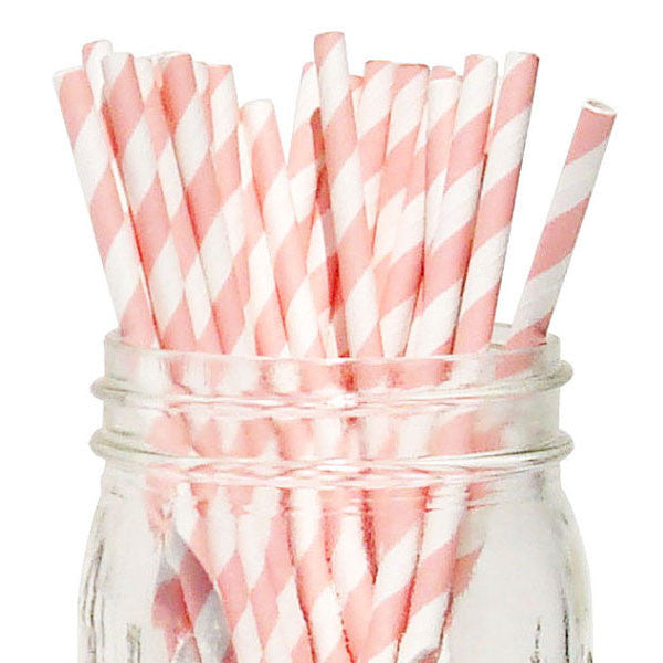 Pack of 25 Candy Stripes Blush Pink/White Party Straws