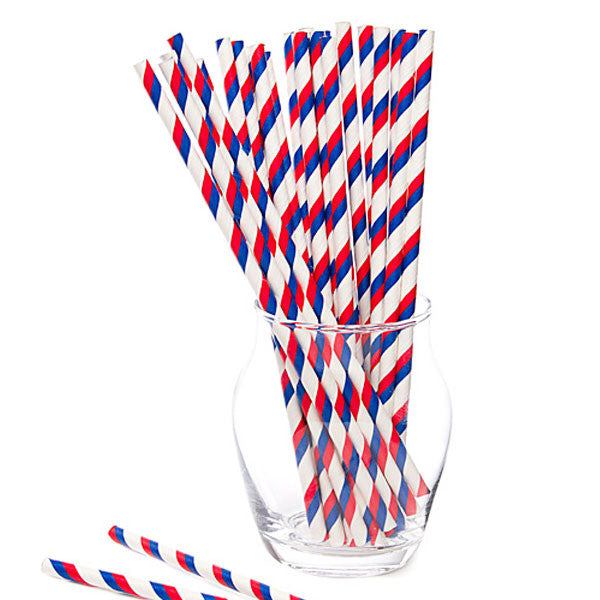 Pack of 25 Candy Stripes French Trio Navy Blue/Red/White Party Straws