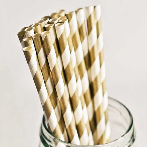 Pack of 25 Candy Stripes Gold Party Straws