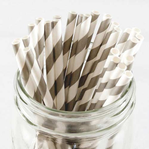 Pack of 25 Candy Stripes Grey/White Party Straws