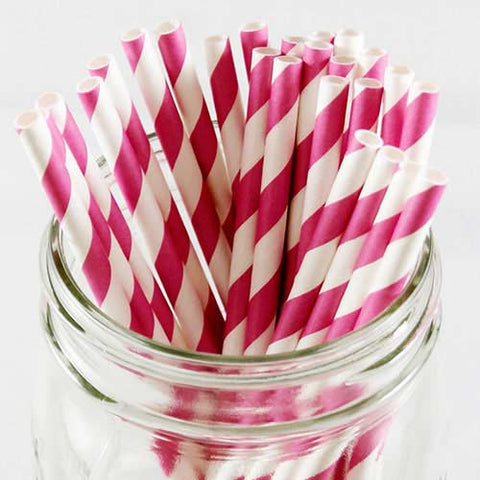 Pack of 25 Candy Stripes Hot Pink/White Party Straws