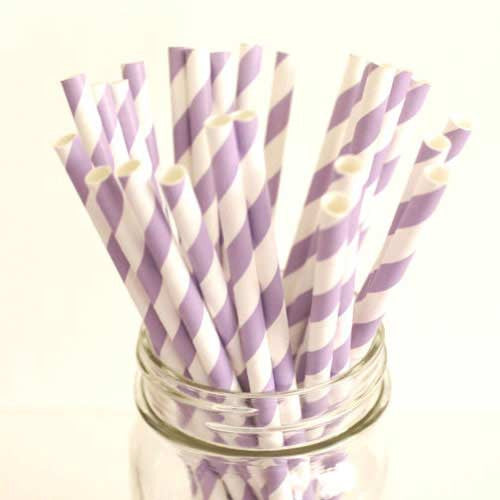 Pack of 25 Candy Stripes Lavender Purple/White Party Straws