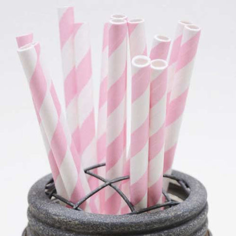 Pack of 25 Candy Stripes Light Pink/White Party Straws