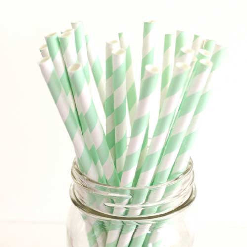 Pack of 25 Candy Stripes Mint Green/White Party Straws