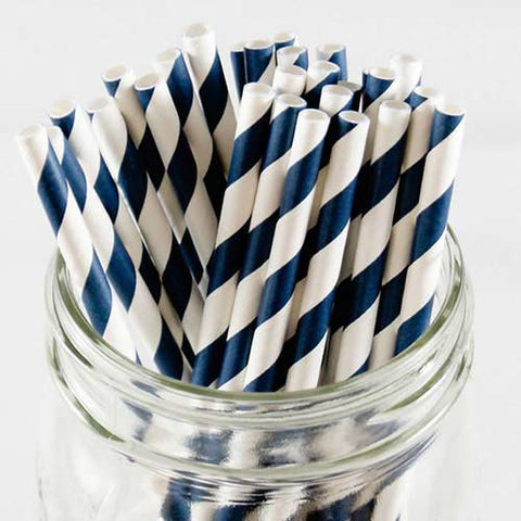 Pack of 25 Candy Stripes Navy Blue/White Party Straws