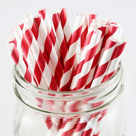 Pack of 25 Candy Stripes Red/White Party Straws