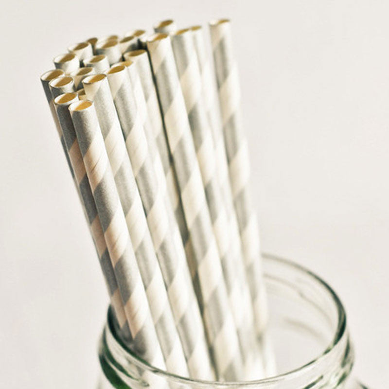 Pack of 25 Candy Stripes Silver Grey Party Straws