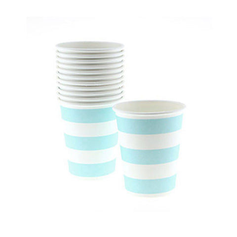 Candy Stripes Baby Blue Pack of 12 Party Beverage Cups 9oz (250ml)