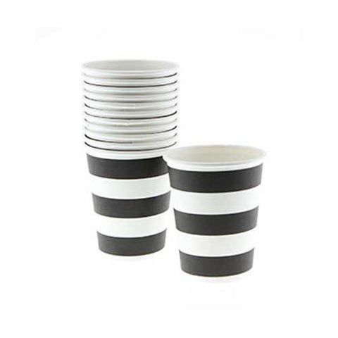 Candy Stripes Black Pack of 12 Party Beverage Cups 9oz (250ml)