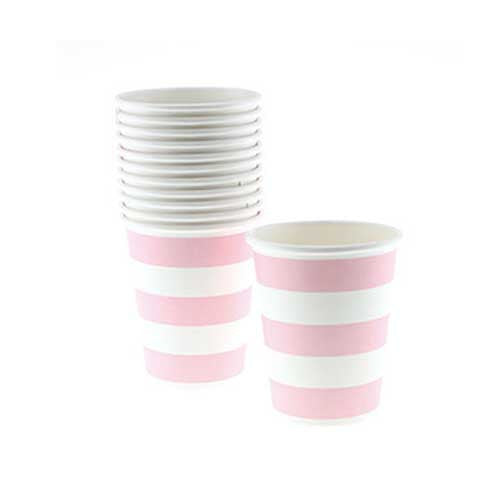 Candy Stripes Blush Pink Pack of 12 Party Beverage Cups 9oz (250ml)