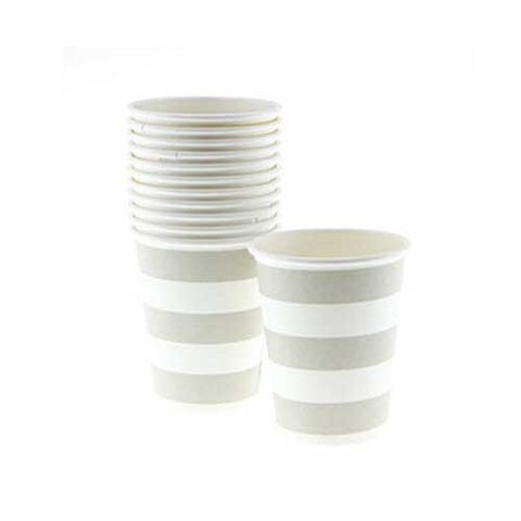Candy Stripes Champagne Grey Pack of 12 Party Beverage Cups 9oz (250ml)