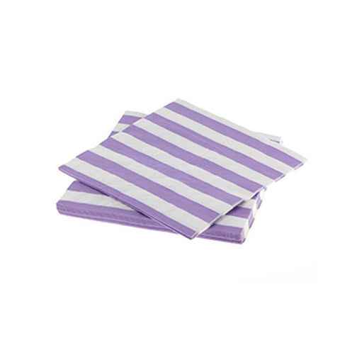 Candy Stripes Lavender Pack of 20 Premium Lunch Napkins