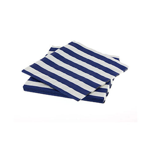 Candy Stripes Navy Blue Pack of 20 Premium Lunch Napkins