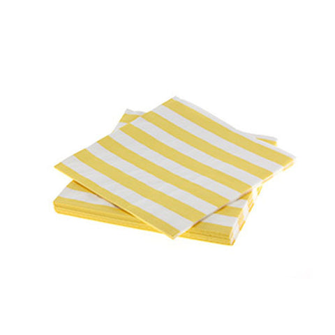 Candy Stripes Yellow Pack of 20 Premium Lunch Napkins