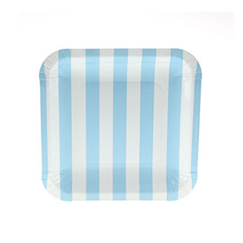 Candy Stripes Baby Blue Pack of 12 Premium Square Plates (18.5cm)