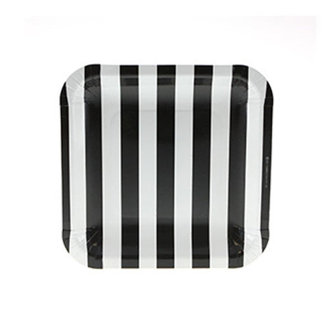 Candy Stripes Black Pack of 12 Premium Square Plates (18.5cm)