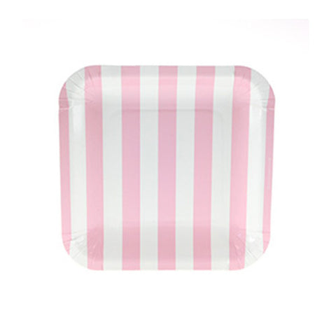Candy Stripes Blush Pink Pack of 12 Premium Square Plates (18.5cm)