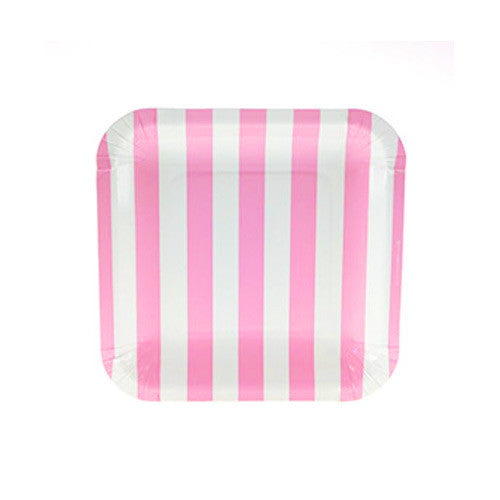 Candy Stripes Bubblegum Pink Pack of 12 Premium Square Plates (18.5cm)