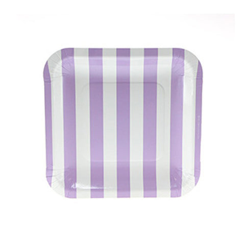 Candy Stripes Lavender Purple Pack of 12 Premium Square Plates (18.5cm)