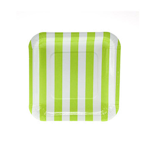 Candy Stripes Lime Green Pack of 12 Premium Square Plates (18.5cm)