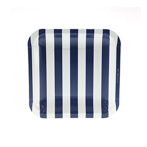 Candy Stripes Navy Blue Pack of 12 Premium Square Plates (18.5cm)
