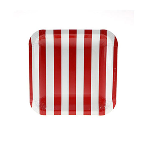 Candy Stripes Red Pack of 12 Premium Square Plates (18.5cm)