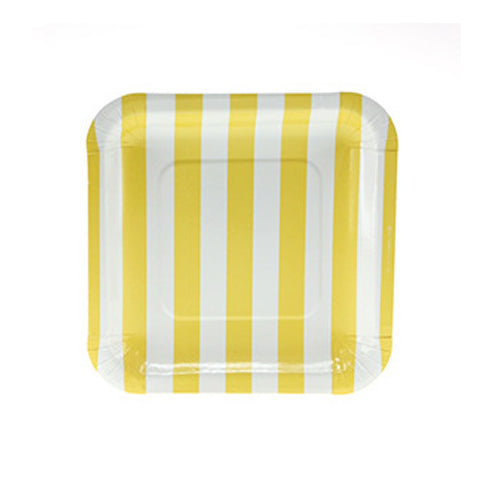 Candy Stripes Yellow Pack of 12 Premium Square Plates (18.5cm)