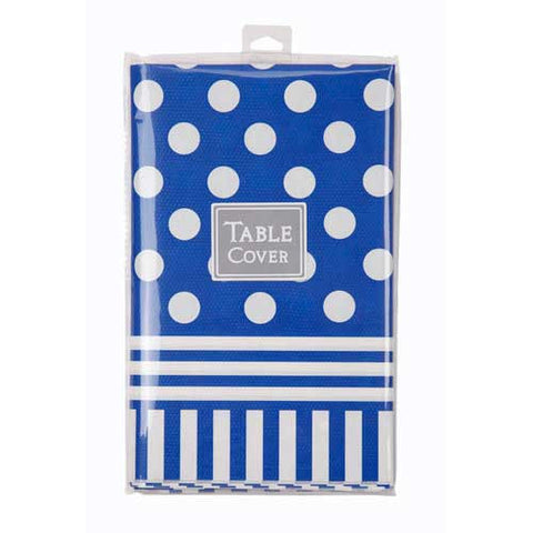 Brave Knight Navy Blue/White Polka Dots Party Table Cover