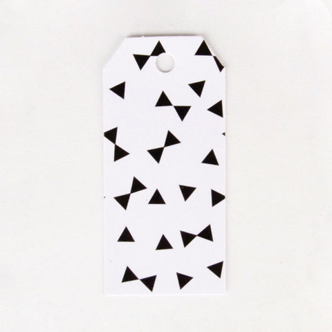 Pack of 12 Black Bow Tie Print Pattern Party Gift Tags