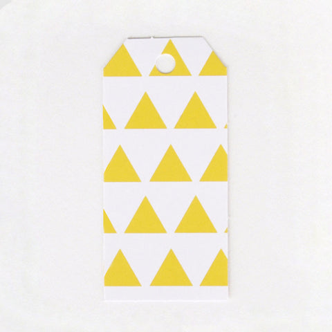 Pack of 12 Sunny Yellow Triangles Print Pattern Party Gift Tags