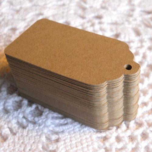 DIY Shabby Chic Pack of 25 Scalloped Brown Kraft Paper Gift Tags with Cords