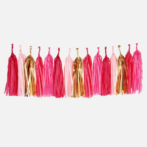 DIY Pre-cut Gold & Blush & Raspberry Pink Tissue Tassel Garland Set (20 tassels/8 feet)