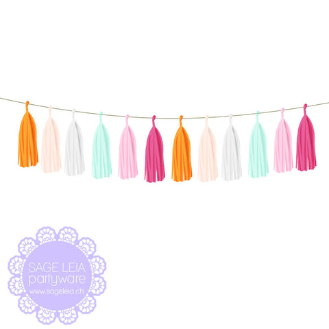 DIY Pre-cut Gorgeous Orange Pink & Mint Mix Tissue Tassel Garland Set (12 tassels)