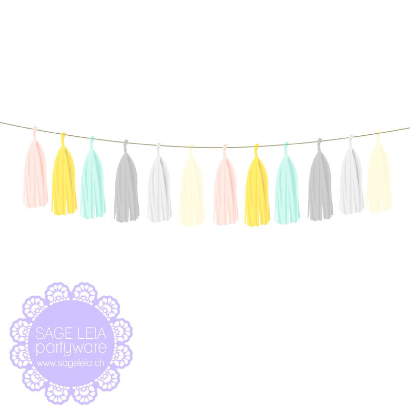 DIY Pre-cut Gorgeous Peach Yellow Grey & Mint Mix Tissue Tassel Garland Set (12 tassels)