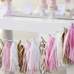 DIY Pre-cut Classic Powder Champagne Gold & Cream Tissue Tassel Garland Set (20 tassels/8 feet)