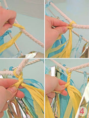 DIY Pre-cut Gorgeous Blue Pink & Gold Mix Tissue Tassel Garland Set (12 tassels)