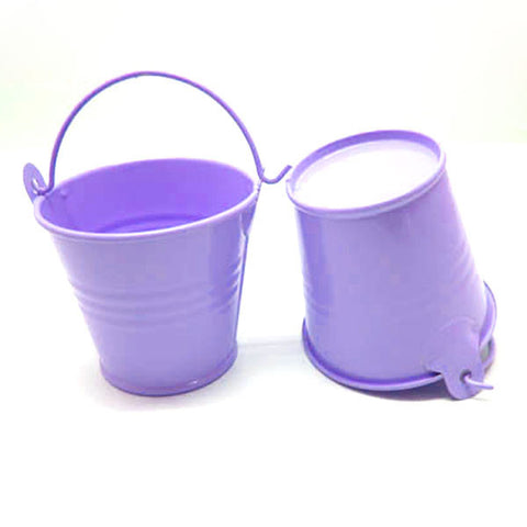 Set of 5 Cute Mini Lavender Purple Party Favor Tin Bucket Candy Pails