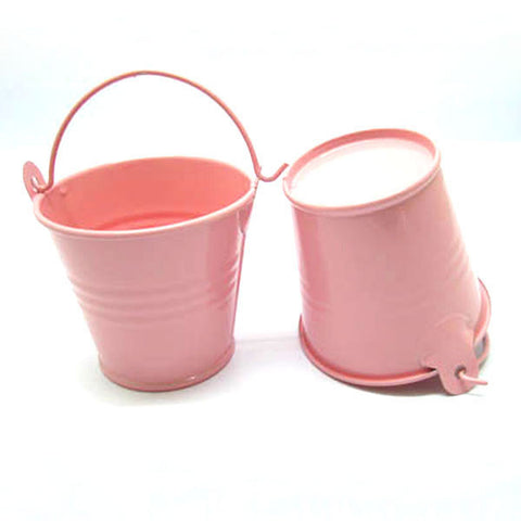 Set of 5 Cute Mini Blush Pink Party Favor Tin Bucket Candy Pails