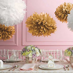 Party Decorative Tissue Pom Pom Gold Metallic (25cm)