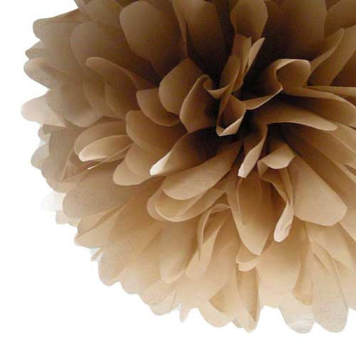 Party Decorative Tissue Pom Pom Tan Brown (25cm)