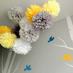 Party Decorative Tissue Pom Pom Light Yellow (25cm)